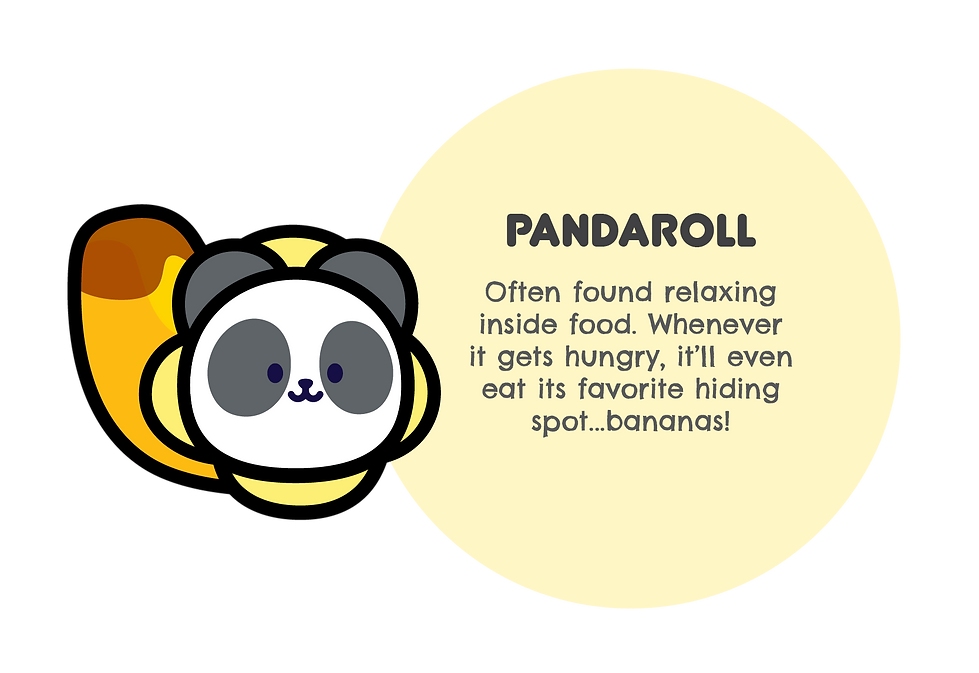 Image of Pandaroll. With text saying: Often found relaxing inside food. Whenever it gets hungry, it'll even eat up its favorite hiding spot... bananas!