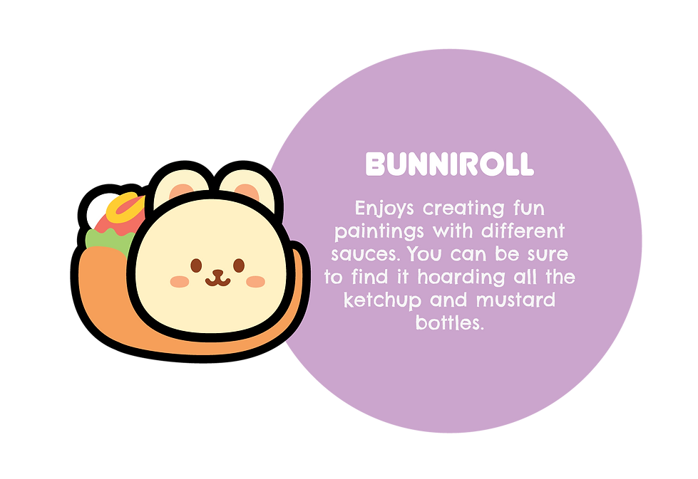 Image of Bunniroll. With text saying: Enjoys creating fun paintings with different sauces. You can be sure to find it hoarding all the ketchup and mustard bottles.