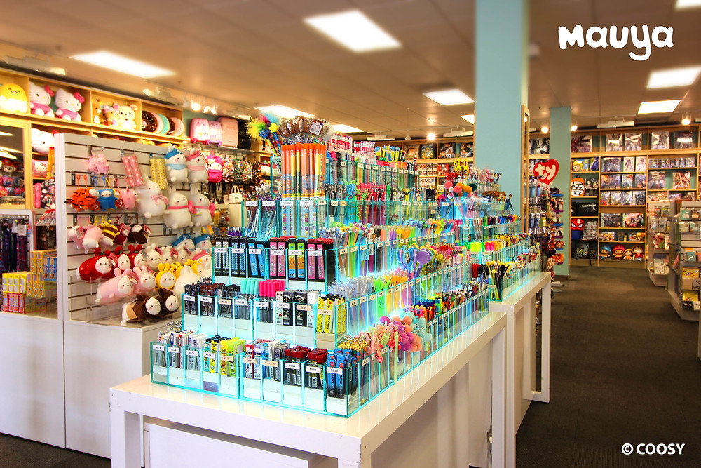 Image of Interior of the Mauya store at Citadel Outlets featuring cute stationery and plush toys.