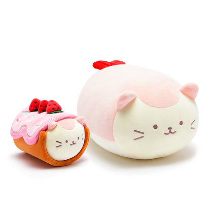 Anirollz Cat Strawberry Roll Cake Plush 2pcs Gift Set Kittiroll
