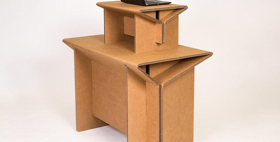 Cardboard Table Topper on Top of Cardboard Table