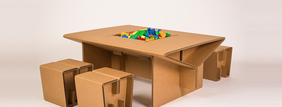 Cardboard Play Table with Toys