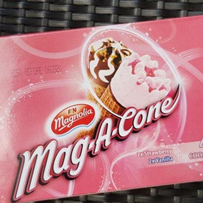F&N Magnolia Mag-A-Cone Ice Cream - Strawberry & Vanilla 4 per pack