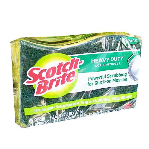 3M Scotch-Brite Scrub Sponges - Heavy Duty (Urethane) 3 per pack