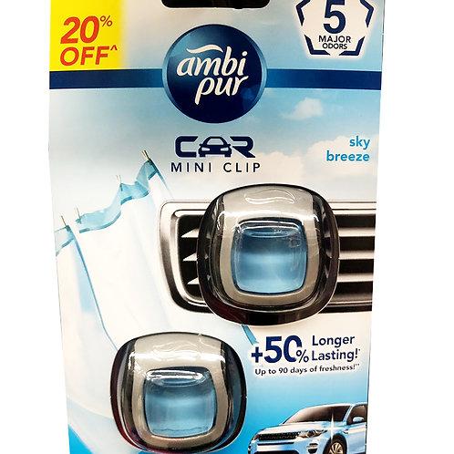 Ambi Pur Car Mini Clip Air Freshener - Sky Breeze 2 x 2ml