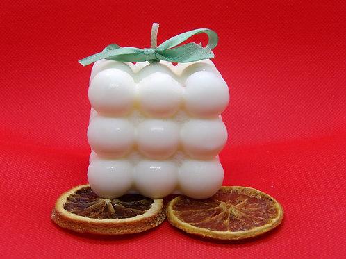 Bougie végétale magic cube bulle fleur d'oranger