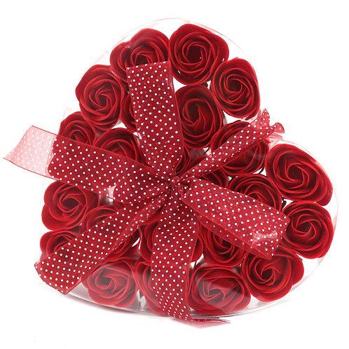 Coffret  de roses rouges en savon doux