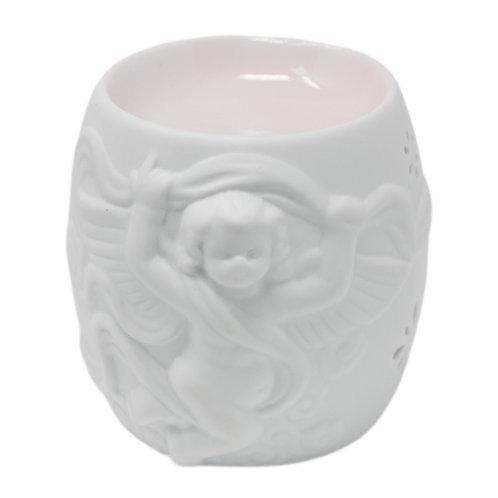 Brûle parfum céramique blanc laquée chérubin