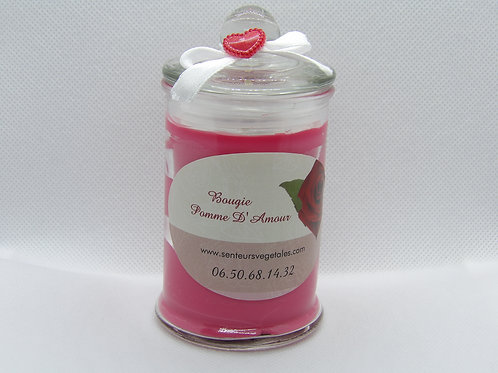 Bougie gourmande pomme d'amour saint valentin
