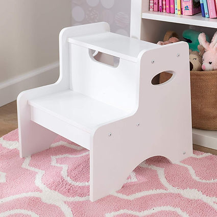 Wooden auxiliary stool with handle for children
