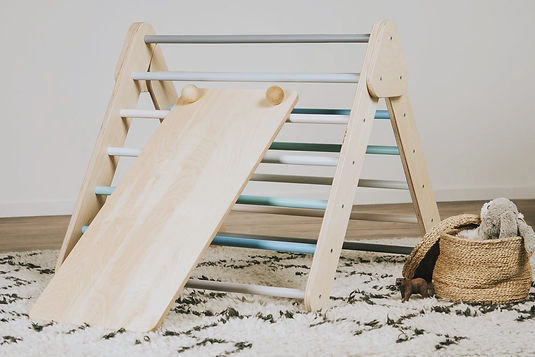 Wooden color pikler triangle climbing frame