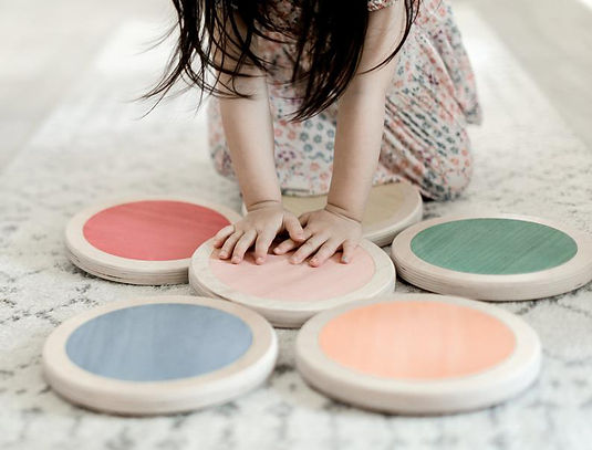 Wooden stepping stones for children's balance training