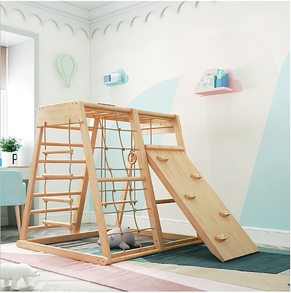 Large indoor wooden climbing frame
