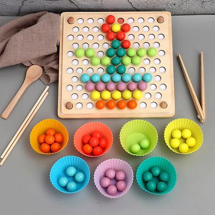 wooden Learning Toys  Rainbow Ball math set
