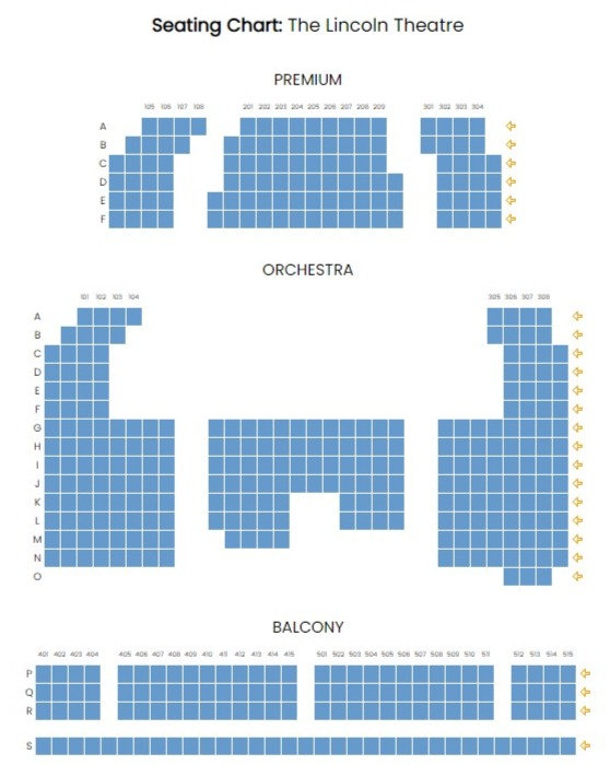 The Lincoln Theatre, Marion, Virginia, Seating Chart