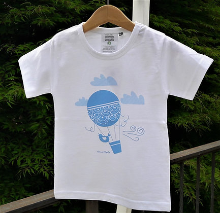 T-shirt hot air balloon light blue