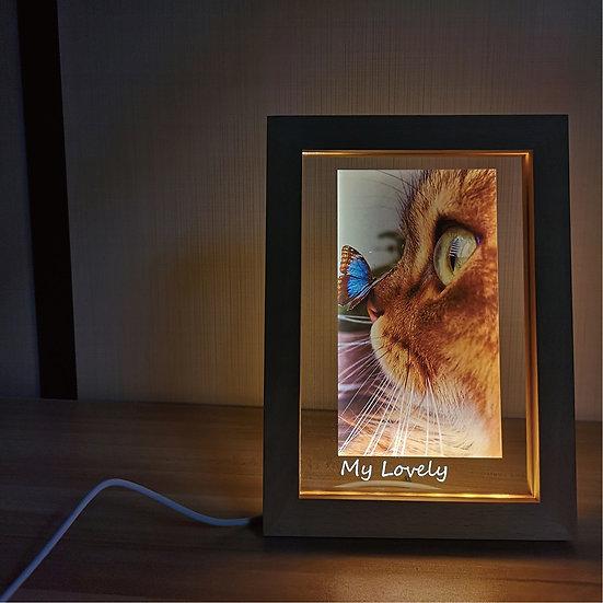 Wood Photo Frame Decorative USB Lamp