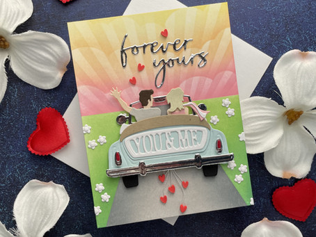 Spellbinders|Stenciled and Inked Background, Sunday Sunset Drive