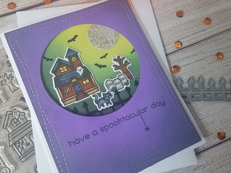 Halloween Card: Mini Scene with Inked Blended Background