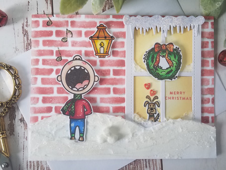Caroling Squad.. How to make snow using texture paste and glitter.