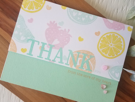 Thank You card using colored inks