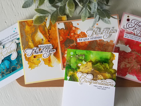 Spellbinders Glimmer Hot Foil System with Alcohol Ink Backgrounds