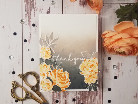 Grey & Melon Floral Card