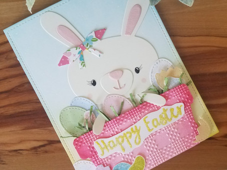 Easter Basket with Bunny, Die Cuts and Embossing Folders