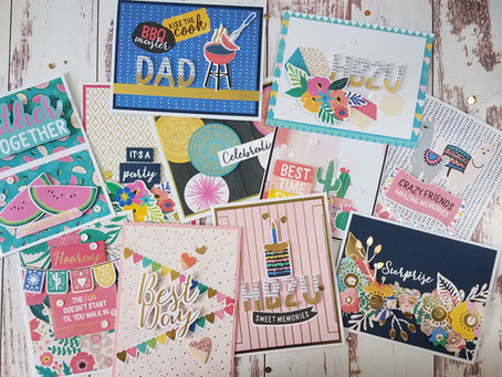 """10 Cards Using Spellbinders Card Kit Of The Month """"Life Is A Party"""""""