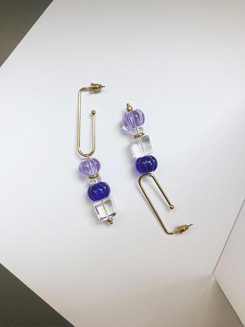 ir. GLASS CANDY EARRINGS - LIGHT PURPLE/BLUE