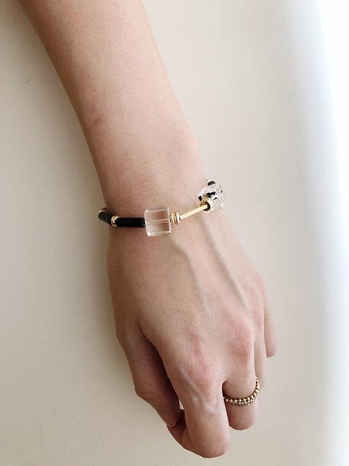 Clear quartz cubes bracelet