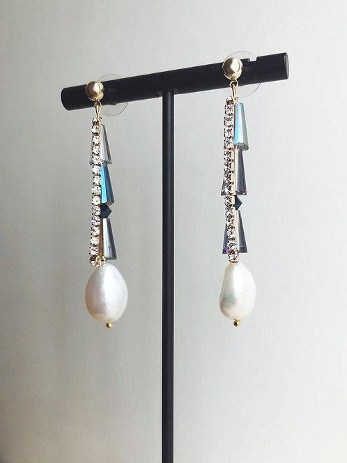 Rhinestones Pearls Drop Earrings - Blue Tone
