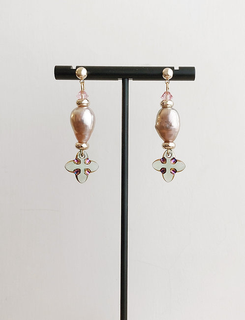 Peacock Pearl Drop Earrings