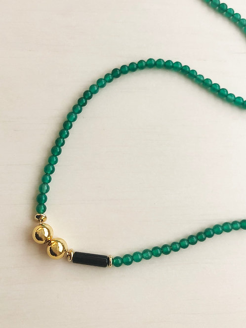 Green Agate 14k gf Beads Minimal Necklace