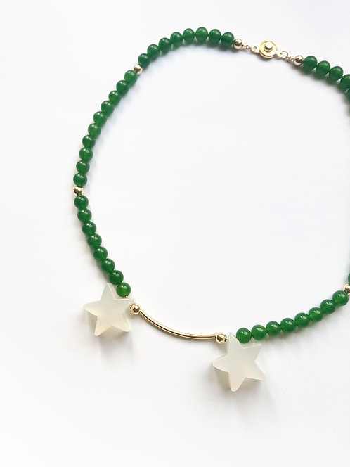 Double Agate Stars Green Jasper Collar Necklace