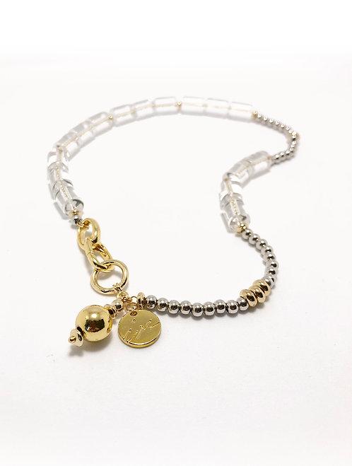ir x eg. Quartz 925 silver beads collar necklace