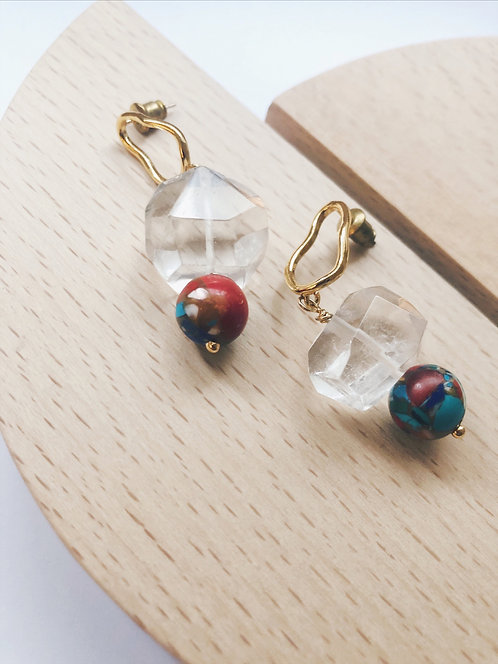 Raw Quartz Drop Earrings - Multi Colored Beads