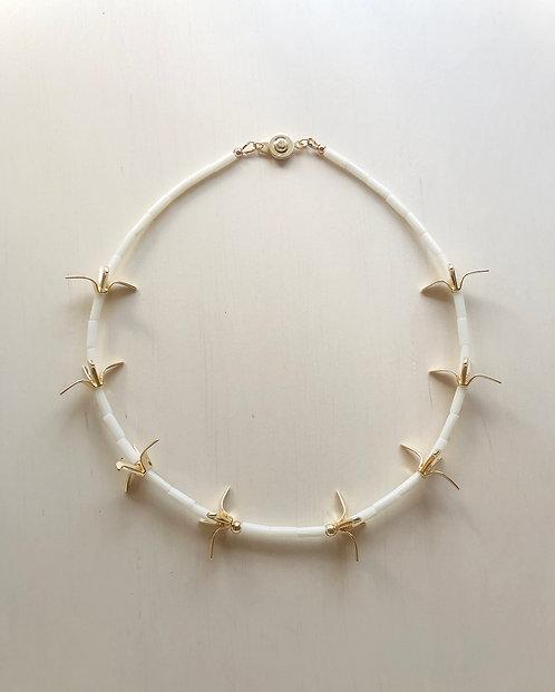 Origami Bird White Coral Collar Necklace