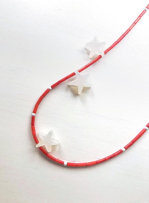 3 Stars Coral Tube Beads Necklace - Orange