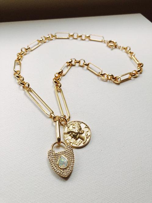 Chunky chain neckace (lock & coin)