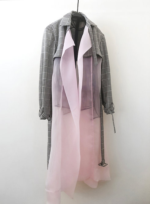 Organza Checker Detailed Trench Coat