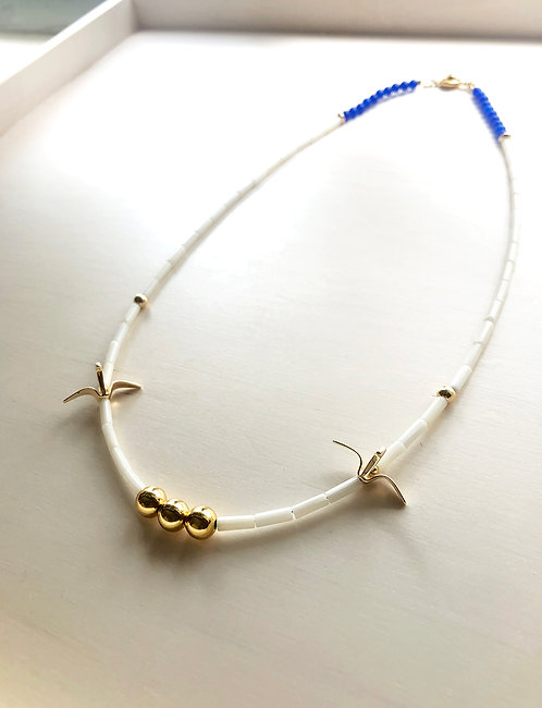 Origami Bird White Coral Simple Necklace