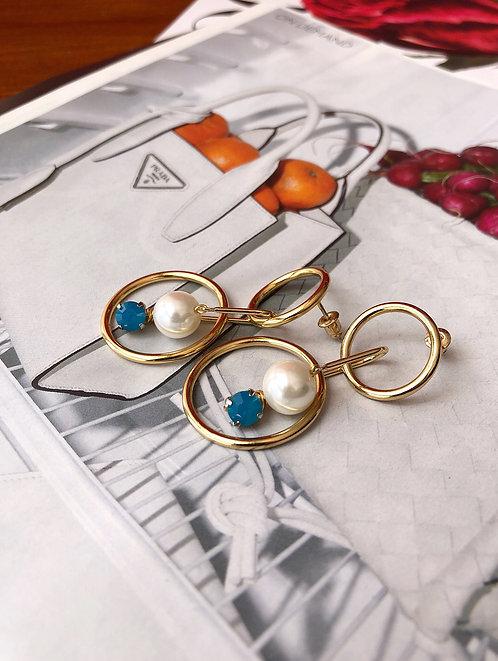 Connected Rings Faux Pearls Earrings
