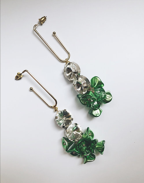 ir. Crystal & Czech Glass Beads Earrings- Green