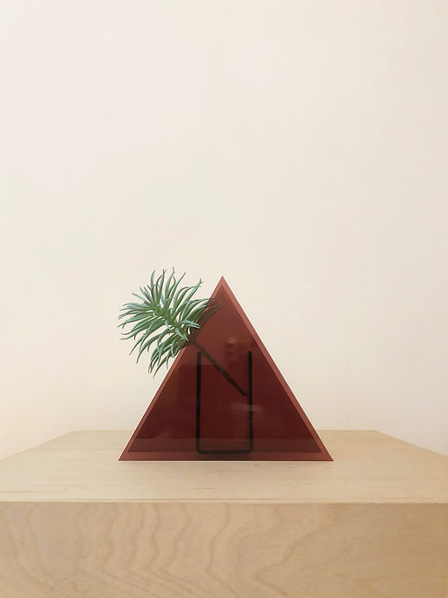 Deep Red Triangle Vase