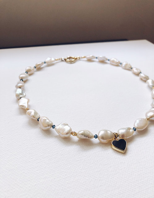 Sweetheart Abalone Shell Pearls Necklace