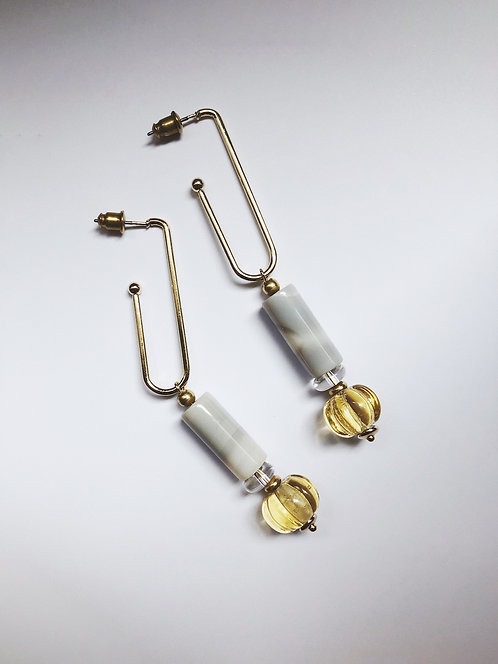 ir. Glass Candy Earrings - Grey Agat/yellow