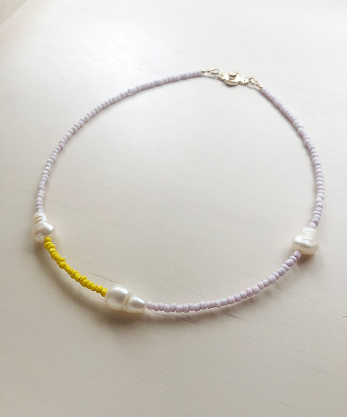 Natural pearls collar mini - Pink/ Yellow