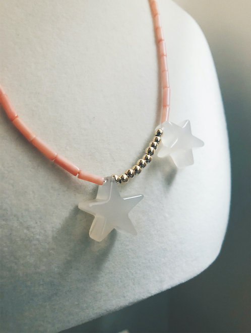 3 Stars Coral Tube Beads Necklace