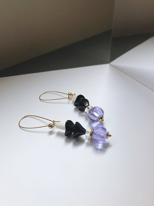 ir. Glass Candy Earrings - Light Purple/black